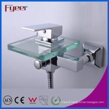 Fyeer Single Handle Bathroom Waterfall Glass Bath Faucet with Diverer