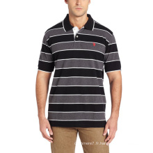 Men's Stripe 95 Coton 5 Spandex Polo À La Mode