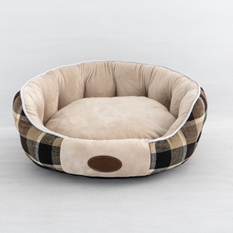 Outer plaid with brown-gray cat litter pad