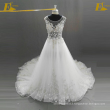 ED Bridal Latest Designs Cap Sleeve Appliques and Beaded See Through Bodice Lace-Up Back Organza Wedding Dress Bridal Gown