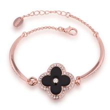Mode 18k Rose Gold Tschechische Bohrmaschine Blumenform Anhänger Charm Armband Design für Yong Mädchen