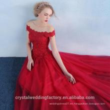 Alibaba Elegante Largo Nuevo Diseñador De Color Rojo Tulle Playa Y Encaje Vestidos De Cena O Vestido De Dama De Honor De Grueso De Perlas LE38