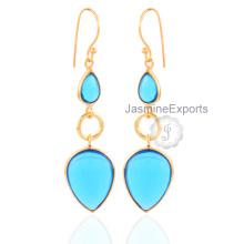 Pendientes de oro de 18 quilates Pendientes de piedras preciosas de cuarzo azules hermosos de Londres para las mujeres