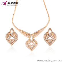 63406 moda de luxo em forma de coração cz diamante 18k banhado a ouro imitação de jóias set para festa de casamento