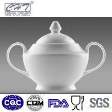 Elegant bone china white porcelain sugar pot with two hand