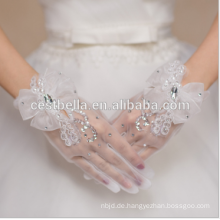 Hochzeit Hand Handschuhe Elegante kurze Rhimestone Fingerlose Spitze Braut Handschuhe für Hochzeit