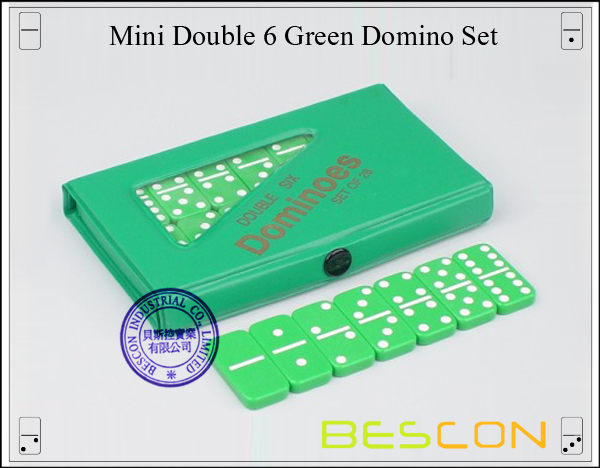 Mini Double 6 Green Domino Set