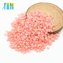New Style Fashion Half Flat Back Domed Pearl Loose Pearls for Jewelry Making, Z40-Fuchsia