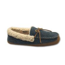 Pele dos homens forro de sapatos casuais de lã chinelos interior