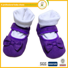 2015Hot selling baby princess shoes with bowknot/Fashion baby girls velcro cloth first walkers