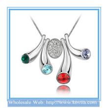 Bijoux fantaisie, bijoux en diamant artificiel américain Bouton en or blanc Collier en cristal coloré