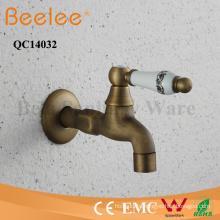 Antique Copper Bibcock Wall Mount with Ceramic Handle Bathtub Faucet