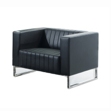 Commercial Reception Sofa Black Leather Center Office Sofa with Coffee Table