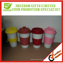 Logo Customized Cheap Coffee Mugs with Silicone Sleeve
