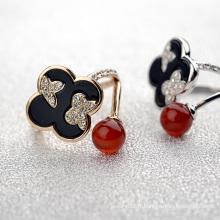 Fashion New Design Lady Finger Ring Anneau d'agate d'Inde et de trèfle de cristal pour une usure quotidienne