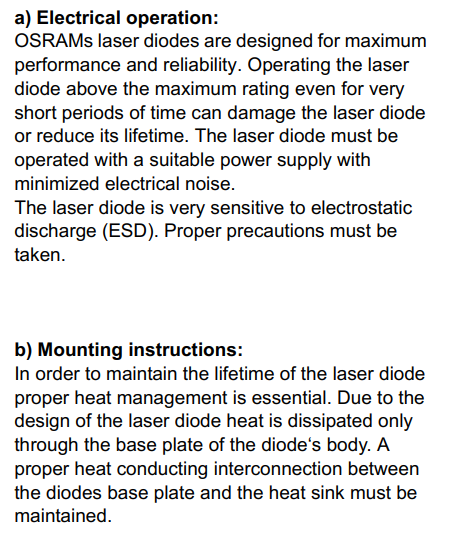 notes about laser diode