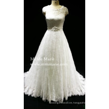 Cap manga vestido de novia vestido de novia A-line con banda de perlas BYB-14554