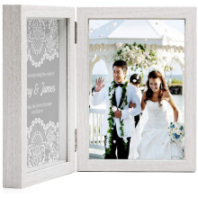 High quality 5x7 White Wooden Hinged Double Picture Frame Gifts Photo Frames Collage Shadow Box 2 Openings Elegant Wedding frame