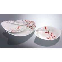 12pcs керамический комплект обеда с розовой наклейкой, квадратный комплект обеда, набор посуды фарфора