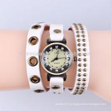 Coreano comércio exterior vintage couro relógio relógio pulseira relógio de moda pulseira relógio rebite embrulhado brach BWL038