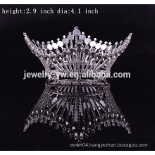 wholesale metal silver plated round pageant crowns for kings and queen