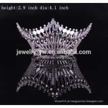 Atacado metal prata banhado ronda cerimônia coroas para reis e rainha