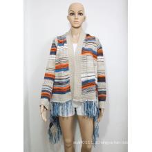 Senhora moda acrílico tricotado listrado franjas cardigan camisola (yky2004)