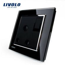 Livolo 1 Gang 1Way Кнопочный настенный выключатель с гнездом 15A VL-W2Z1UK2-12