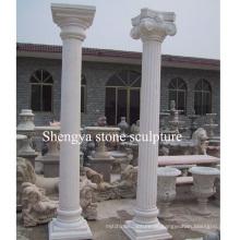 Coluna de escultura de pedra de mármore branco (SY-C013)