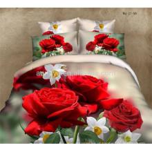 Luxo Casamento Duvet Cover Bedding Conjuntos Beautiful Romantic Red Roses