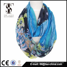Print splicing polyester and viscose blended scarf