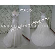 WD7615 Spaghetti Strap Mermaid Sweetheart Bling Real Sample Wedding Dress