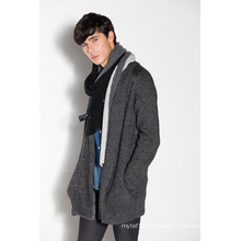 Acrylic Wool Nylon Whosale Knitted Men Cardigan with Zipper