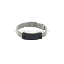 stainless steel 8mm steel mush band watch with blue carbon fiber on sales