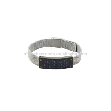 Aço inoxidável 8mm aço mush banda relógio com fibra de carbono azul sobre as vendas