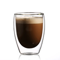 hot sale simple style double wall glass coffee cup glass tea cup