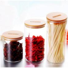 Matériel de qualité alimentaire écologique Stockage de pot de verre Bocaux de nourriture