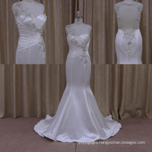 Shimmering Rickrack Blouse Satin Custom Beach Wedding Dress