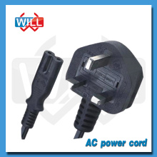 Factory Wholesale BS 3 pin ac projector power cord with UK plug