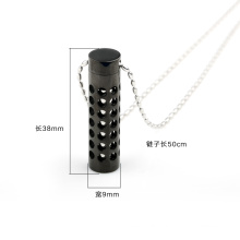 Magical Stainless Steel Perfume Bottle Pendant Jewelry Necklace with Black Color