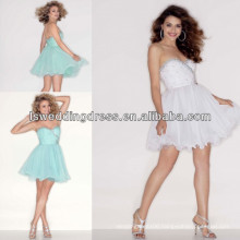 HC2013 Famous style mint sweetheart neckline beaded chiffon over tulle mini fluffy party dress