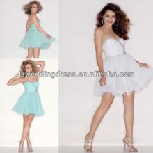 HC2013 Famosa estilo mint sweetheart decote empoleirado em chiffon sobre vestido de festa macio de tul e mini
