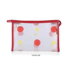 Bolsa para lavagem cosmética Lady Fashion Dots impressa em PVC transparente (YKY7533-7)