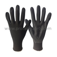 13G Black Polyester Knitted Gloves with Black Sandy Nitrile Coated