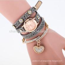 2015 Envoltório novo da forma em torno do cristal do relógio do bracelete rhinestone longo relógio de couro do relógio dos relógios do quartzo do pulso das mulheres BWL003