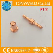 Consumibles de plasma pt31 punta de corte de gas de electrodo largo