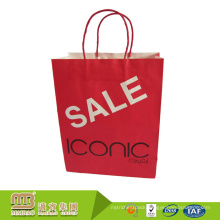 Custom Full Color Logo Printing Recycled Twisted Handle Shopping Carrying Packaging Small Kraft Red Paper Bag