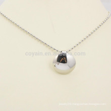Factory Making Cheap Blank Silver Metal Button Pendant Necklace