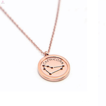 Fashion Rose Gold Stainless Steel Charm Horoscope Necklace