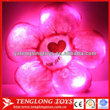 Colorful stuffed red flower shape light up pillow